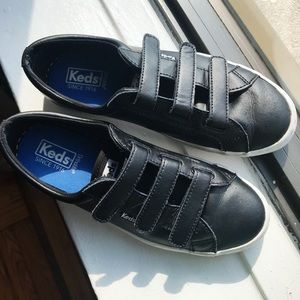 Keds Tiebreak Velcro Black Leather Sneakers 8.5